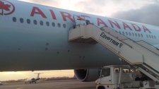 An Air Canada Boeing 777 is seen on the tarmac at Cairo International Airport in Egypt, Monday, Jan. 31, 2011. (Lisa LaFlammae / CTV News)