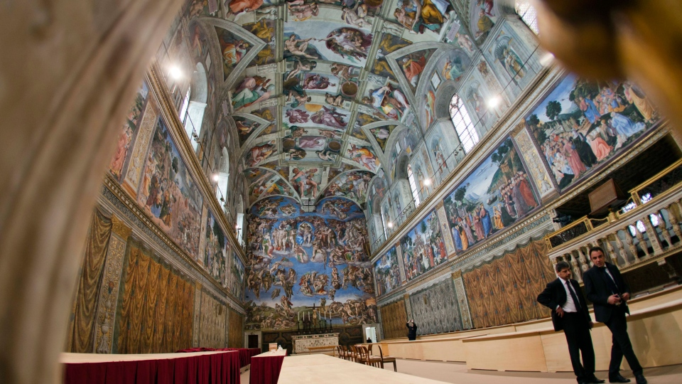 A view of the Sistine Chapel, at the Vatican, Saturday, March 9, 2013. (AP / Alessandra Tarantino)