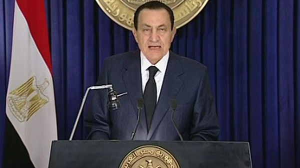 Egyptian President Hosni Mubarak makes what has been billed as an important speech, Tuesday evening Feb. 1 2011. (AP / Egyptian state television via APTN)