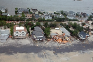 An aerial view of damage to the New Jersey shoreline following Superstorm Sandy can be seen in this photo taken Oct. 30, 2012 (AP / U.S. Air Force, Master Sgt. Mark C. Olsen)