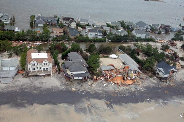Aerial view of damaged  New Jersey homes