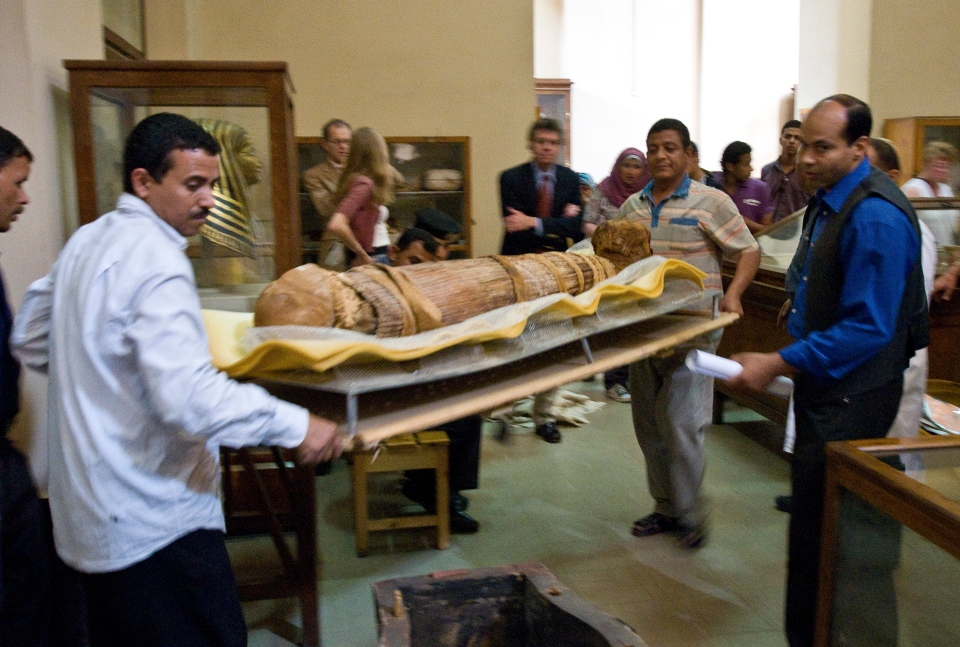 Mummy Hatiay (New Kingdom, 18th Dynasty, 1550 to 1295 BCE) is shown as it is returned to its display in the Antiquities Museum in Cairo after it underwent a CT scan in this undated photo released Sunday March 10, 2013 (AP / Dr. Michael Miyamoto)