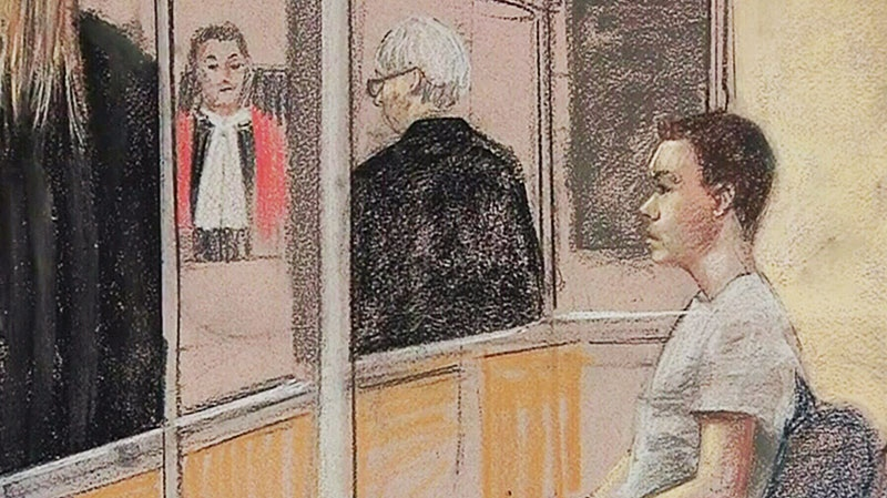 In this court sketch, Luka Magnotta is seen at his preliminary hearing in Montreal, Monday, March 11, 2013.