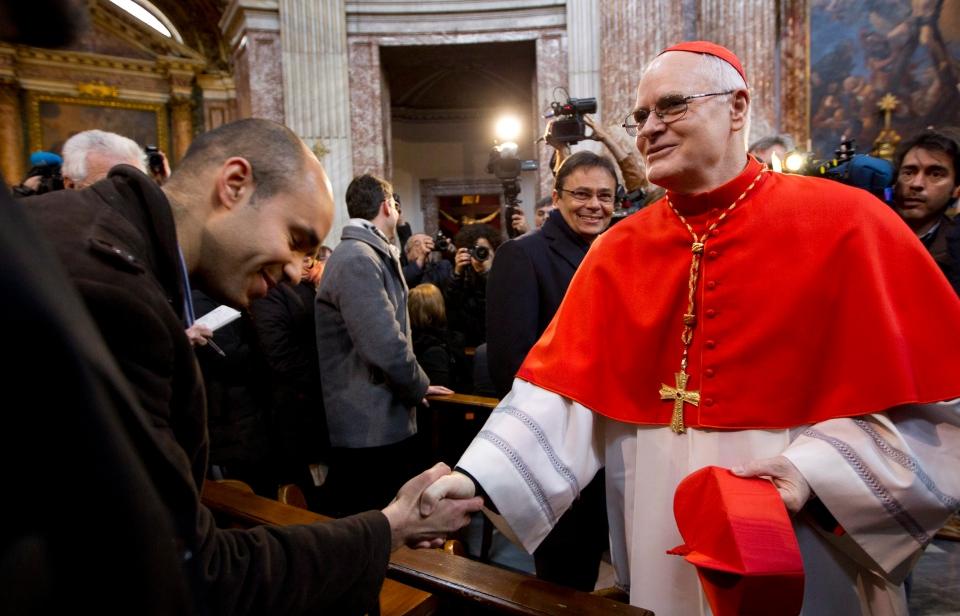 Cardinal Odilo Pedro Scherer arrives to celebrate mass in the Sant' Andrea al Quirinale church, in Rome, Sunday, March 10, 2013. (AP / Andrew Medichini)
