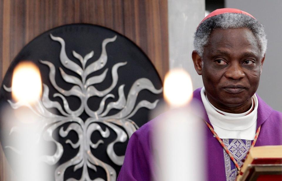 Cardinal Peter Kodwo Appiah Turkson, of Ghana, celebrates a mass at St. Liborius' parish church in Rome, Sunday, March 10, 2013. (AP / Riccardo De Luca)