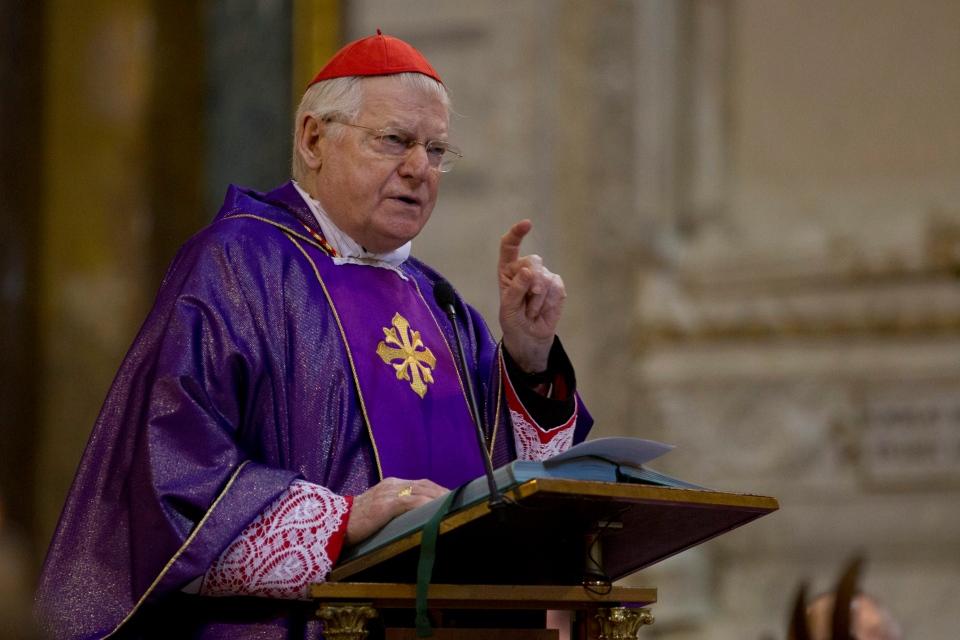 Cardinal Angelo Scola, of Italy, celebrates a mass in Rome's Santi Apostoli church, Sunday March 10, 2013. (AP / Andrew Medichini)