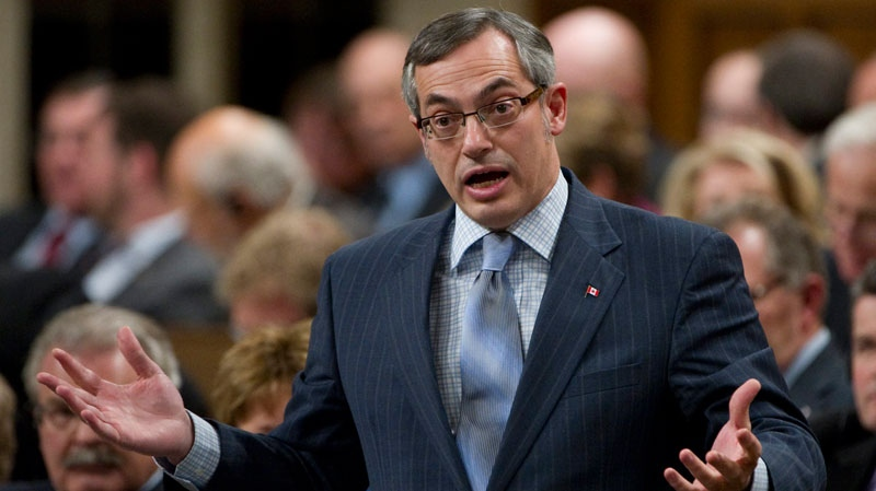 Minister of Industry Tony Clement rises during Question Period in the House of Commons on Parliament Hill in Ottawa, Tuesday February 1, 2011. (Adrian Wyld / THE CANADIAN PRESS)