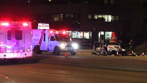 An 18-year-old female pedestrian was struck and killed by a Surrey RCMP cruiser. Jan. 31, 2011. (Shane MacKichan for ctvbc.ca)