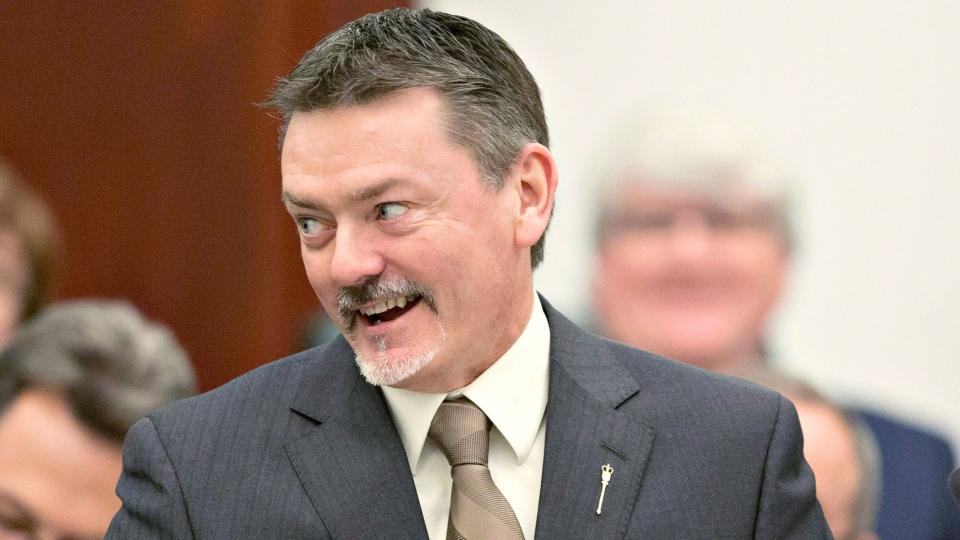 Alberta Minister of Finance Doug Horner presents the 2013 budget at the Alberta Legislature in Edmonton, Alta. on Thursday, March 7, 2013. (Jason Franson / THE CANADIAN PRESS)