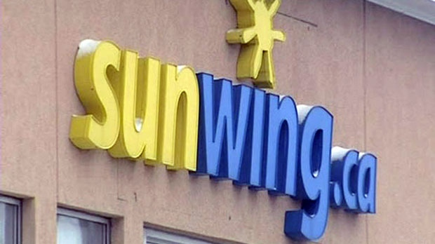 A Sunwing Airlines sign is seen in this undated file photograph.