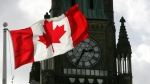 The Canadian flag waves on Parliament Hill in front of the Peace Tower in Ottawa. (File)