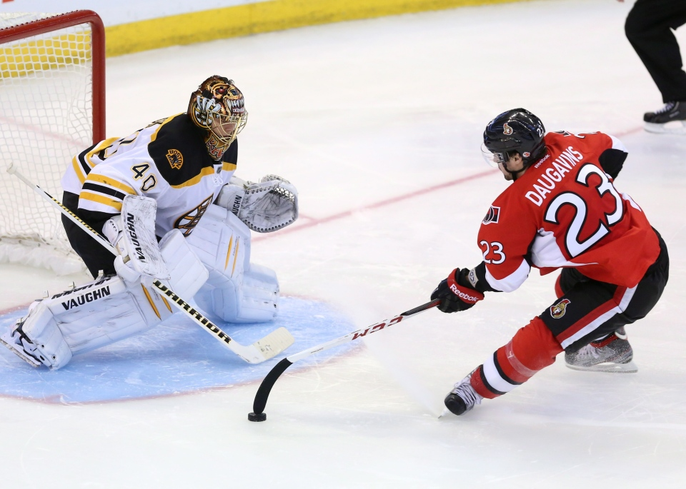 Boston Bruins goaltender Tuukka Rask(40)looks on as Ottawa Senator Kaspars Daugavins attempts an unconventional way of shooting the puck with the tip of his stick during a shoot out in Ottawa Monday, Mar. 11, 2013. Boston beat Ottawa 3-2. THE CANADIAN PRESS/Fred Chartrand