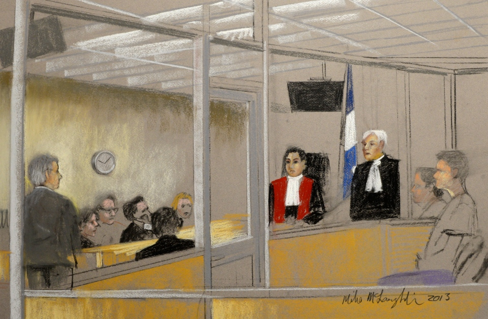 Luka Rocco Magnotta is seen in an artist's sketch in a Montreal court on Tuesday, March 12, 2013. (Mike McLaughlin / THE CANADIAN PRESS)