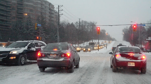 Drivers across the Greater Toronto Area experienced a slow morning commute as the region was hammered with a snow storm, Wednesday, Feb. 2, 2011.
