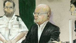 Undated court sketch of Quebec election night shooting suspect Richard Henry Bain.