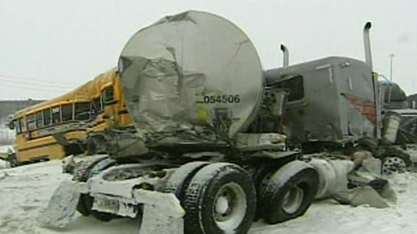29 people were to the hospital following a series of highway pileups in Montreal, Wednesday, Feb. 2, 2011.