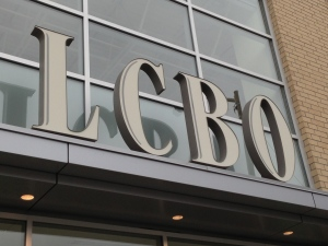 A sign is pictured outside an LCBO store on Danforth Avenue in Toronto. (Chris Kitching/CP24)