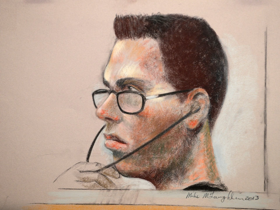 Luka Rocco Magnotta is shown in an artist's sketch in a Montreal court on Wednesday, March 13, 2013. (Mike McLaughlin / THE CANADIAN PRESS)