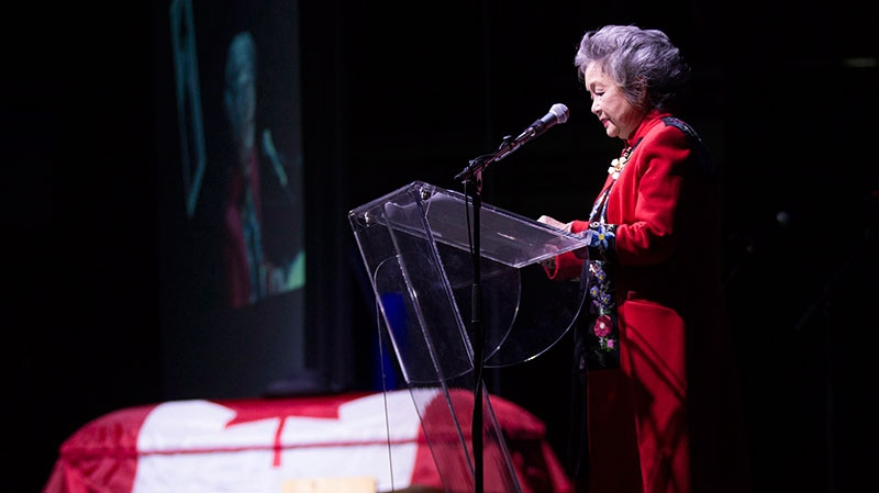 Adrienne Clarkson reads an eulogy at the Stompin' Tom Connors memorial in Peterborough, Ontario on Wednesday March 13, 2013. (Chris Young / THE CANADIAN PRESS)