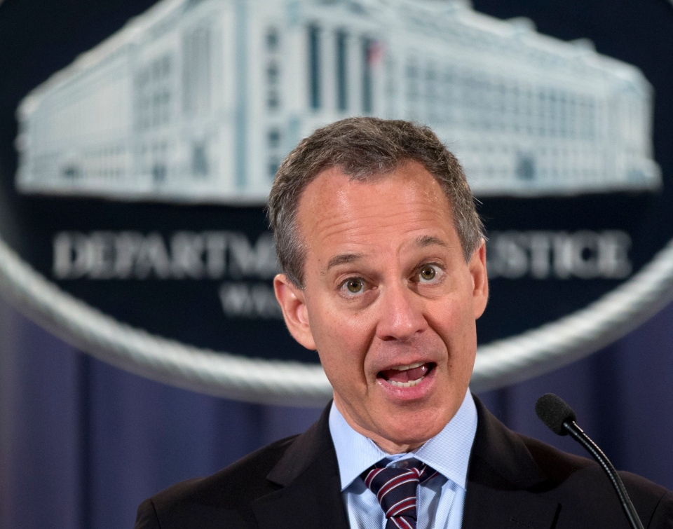 New York Attorney General Eric Schneiderman speaks during a news conference in this October 2012 file photo. (AP Photo/Carolyn Kaster)