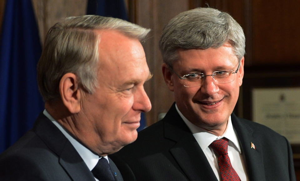Prime Minister Stephen Harper meets with French Prime Minister Jean-Marc Ayrault in his office on Parliament Hill in Ottawa on March 13, 2013. (Sean Kilpatrick / THE CANADIAN PRESS)