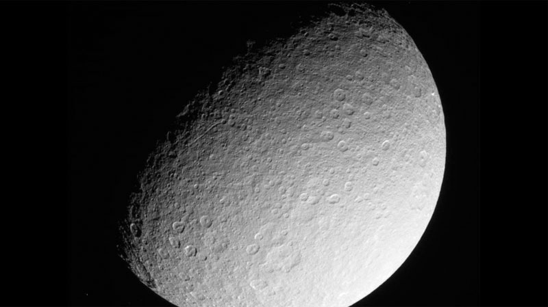 This image was taken on March 10, 2013, and received on Earth March 10, 2013 by NASA's Cassini spacecraft. The camera was pointing toward Rhea at approximately 174,181 miles (280,317 kilometers) away, and the image was taken using the CL1 and CL2 filters. This image has not been validated or calibrated.  Image credit: NASA/JPL/Space Science Institute