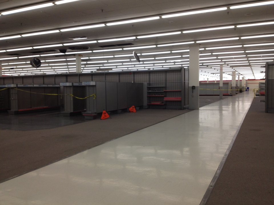 Many shelves are bare as the Zellers location in Tecumseh Mall closes in Windsor, Ont., on March 14, 2013. (Melanie Borrelli / CTV Windsor)