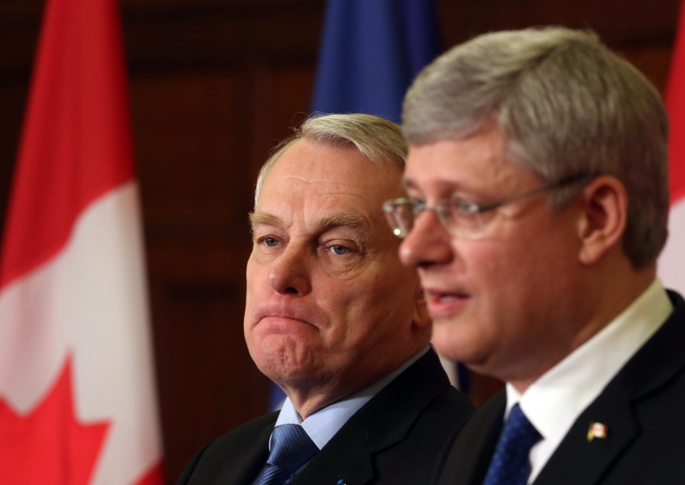 French Prime Minister Jean- Marc Ayrault and Canadian Prime Minister Stephen Harper take part in a joint news conference on Parliament Hill in Ottawa on March 14, 2013. (Fred Chartrand/THE CANADIAN PRESS)