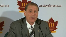 Bob Kinnear, president Amalgamated Transit Union, Local 113, speaks at a press conference in Toronto, Thursday, Feb. 3, 2011.