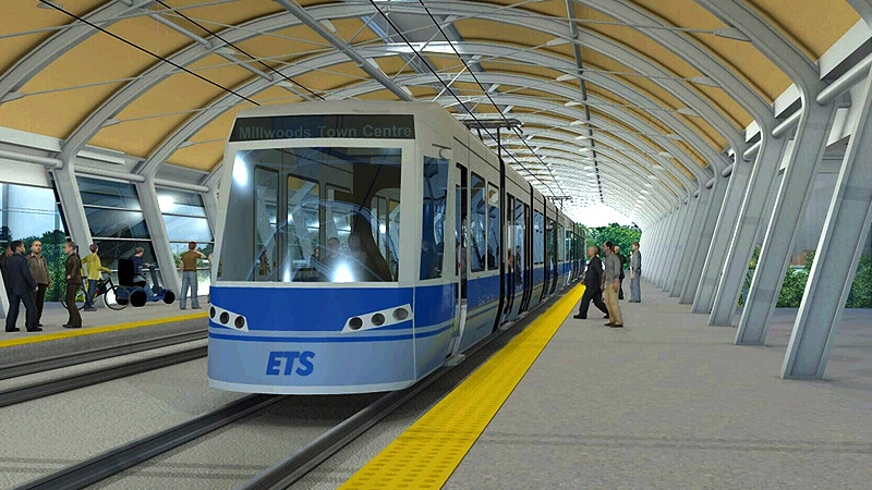A still taken from a City of Edmonton animation shows a proposed stop on the southeast leg of the LRT, also known as the 'Valley Line'.