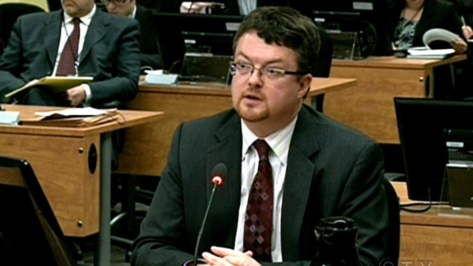 Yves Cadotte testifies before the Charbonneau Commission in Montreal, Thursday, March 14, 2013.