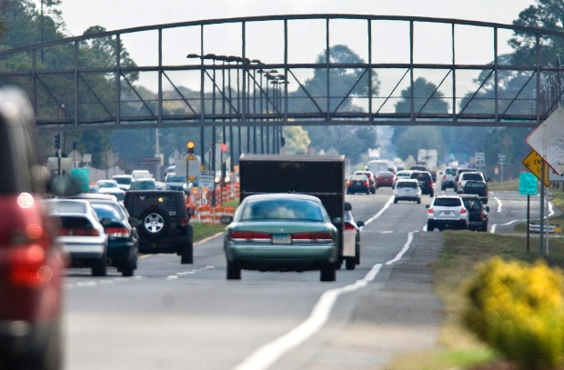Traffic flows smoothly under a pedestrian bridge on U.S. Highway 98 on Hurlburt Field, Florida on Thursday Feb. 2, 2012. (Northwest Florida Daily News / Mark Kulaw)