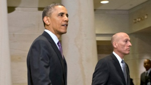 President Barack Obama leaves a meeting with House Democrats at the Capitol, in Washington, Thursday, March 14, 2013. (AP / J. Scott Applewhite)