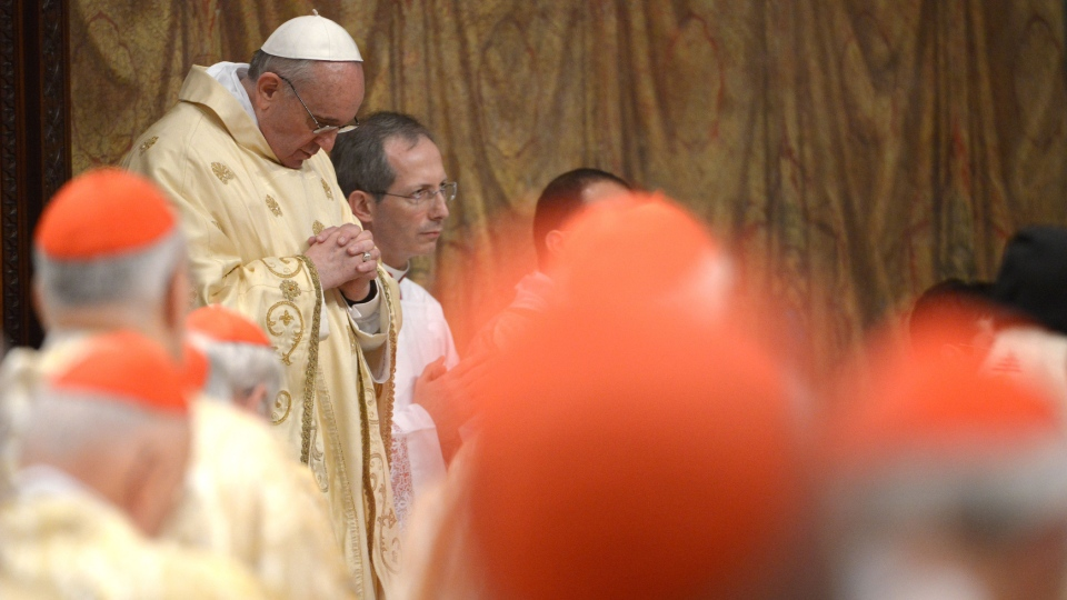Pope Francis celebrates his inaugural Mass with cardinals, inside the Sistine Chapel, at the Vatican, Thursday, March 14, 2013. (L'Osservatore Romano)