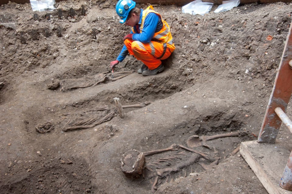 Archaeologists work on the U.K.'s largest infrastructure project, Crossrail, as they uncover an historical burial ground at Charterhouse Square, Farringdon in central London. (London Crossrail Project)