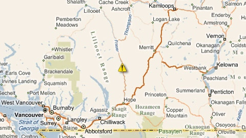 The location of a rockslide that closed Highway 1 for 62 kilometres. Feb. 4, 2011. (DriveBC)