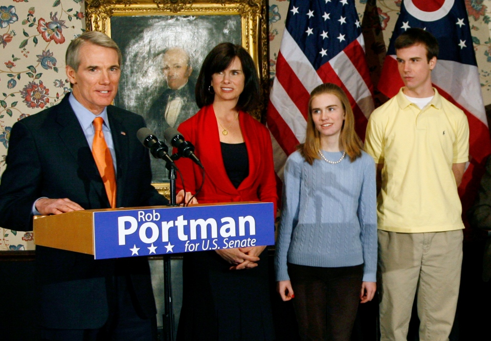 U.S. Sen. Rob Portman, from left, with his wife, Jane, daughter Sally, and son Will, stands after announcing that he will run for the U.S. Senate, in Lebanon, Ohio, Wednesday, Jan. 14, 2009. (AP / David Kohl)