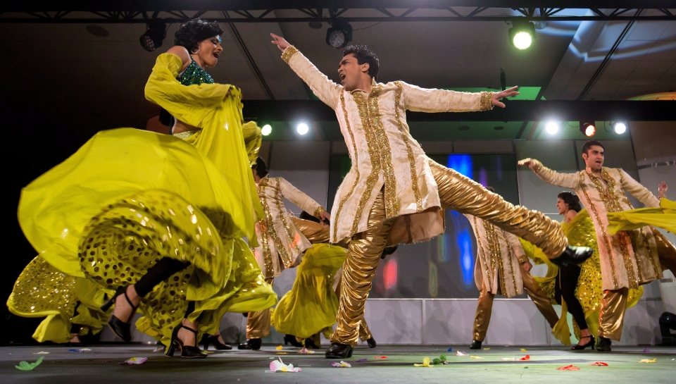 Dancers perform during an event announcing that The Times of India Film Awards will be held in the city in April, in Vancouver, B.C., on Jan. 22, 2013. (Darryl Dyck / THE CANADIAN PRESS)