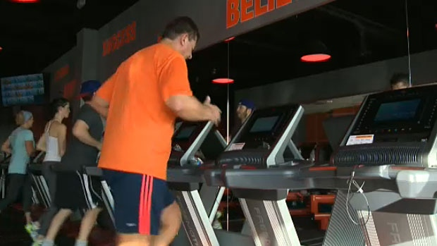 Orangetheory Fitness, in St. Albert, is the first of its kind to open in Canada. Members of Orangetheory workout using heart rate monitors. The monitors help people gauge their activity for better fitness results.