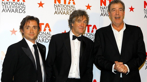 'Top Gear' presenters Richard Hammond, left, James May, centre, and Jeremy Clarkson on Jan. 26, 2011. (AP / Gareth Fuller)