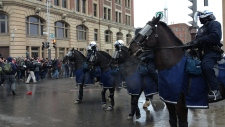 Montreal police cavalry during the Anti-Police Bru