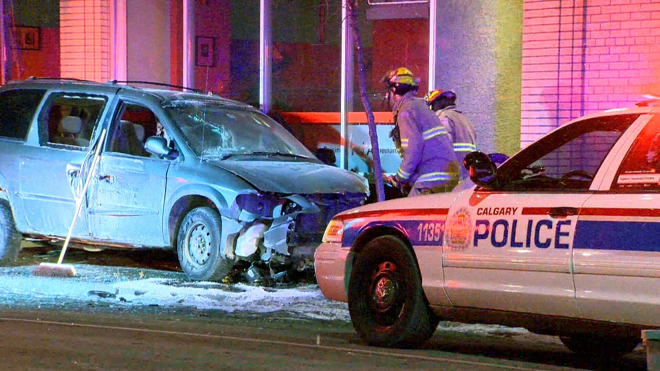 A man has been severely injured after becoming caught between a van and the wall of a building, Saturday, March 16, 2013.