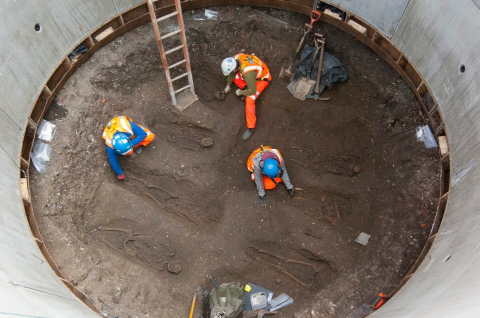 The London Crossrail Project, showing archaeologists working on the U.K.'s largest infrastructure project, Crossrail, as they uncover an historical burial ground at Charterhouse Square, Farringdon in central London.  (AP / Crossrail Project)