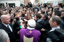 Pope Francis greets crowds