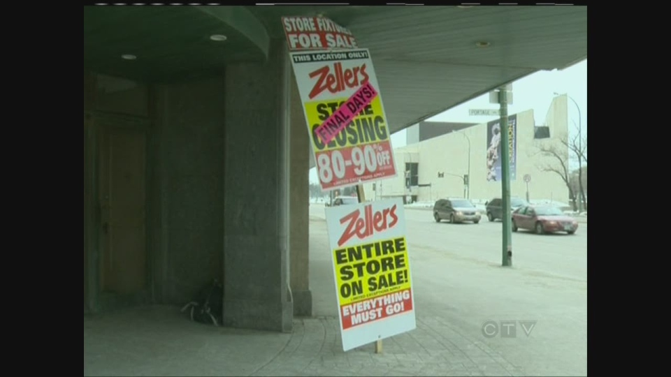 The Zellers grocery store in The Bay basement in downtown Winnipeg shut down on March 17, with other grocery stores around the downtown core also shutting down recently. (file image)