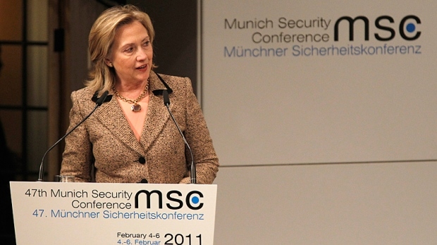 U.S. Secretary of State Hillary Clinton delivers a speech during the Conference on Security Policy in Munich, Germany, Saturday, Feb. 5, 2011. (AP / Frank Augstein)