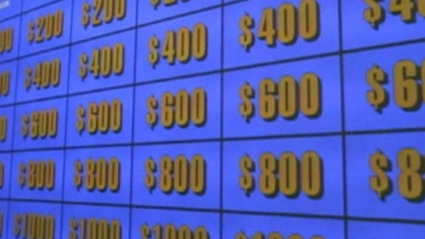 The Jeopardy! clue board is seen in this undated image taken from video.