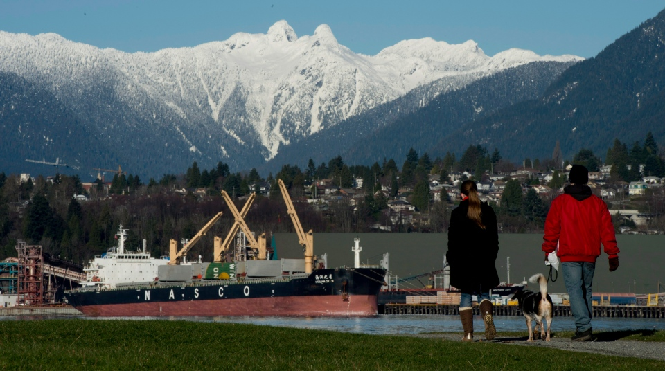 The snow-capped northshore mountains are seen in the background as a couple walk their dog in New Brighton Park in Vancouver, B.C., Friday, January, 11, 2013. (Jonathan Hayward / THE CANADIAN PRESS)