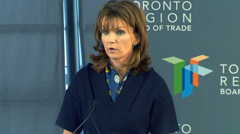 Carol Wilding, the president of Toronto Region Board of Trade, outlines a proposed plan on funding for Metrolinx's 'The Big Move' in Toronto on Monday, March 18, 2013.