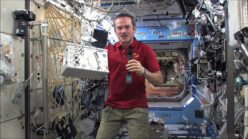 Canadian astronaut Chris Hadfield speaks during a news conference aboard the International Space Station, Monday, March 18, 2013.
